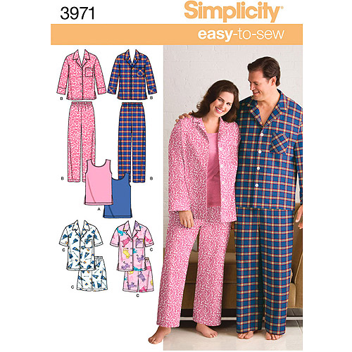 Simplicity Pattern Misses' and Men's Pajamas, (S, M, L)