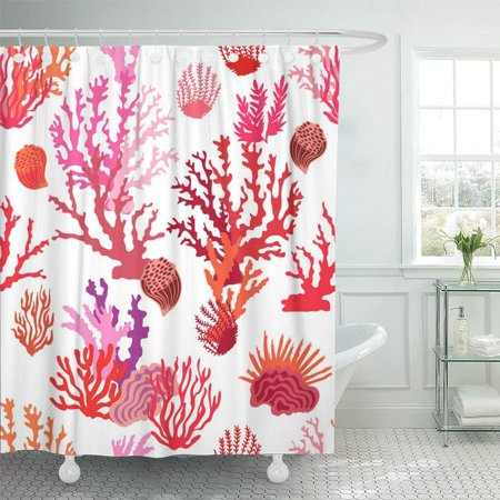 PKNMT Magic Undersea World Pattern with Colorful Corals Beach Collection Red Pink on White Waterproof Bathroom Shower Curtains Set 66x72 inch