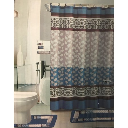 Riely Blue 18 Piece Bathroom Set 2 Rugs Mats 1 Fabric Shower Curtain 12 Covered Rings 3 Pc Decorative Towel