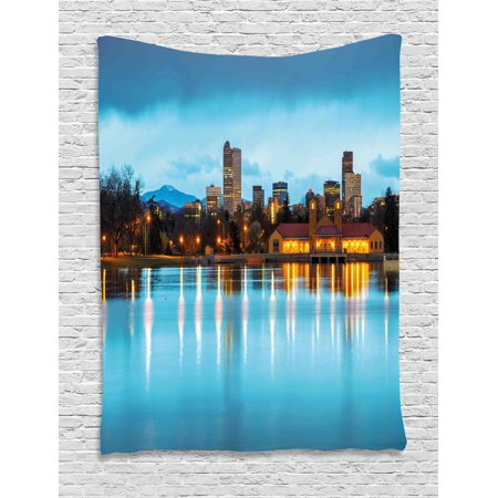 Urban Tapestry  Downtown Denver Ferril Lake Colorado At The Morning City Park Capital  Wall Hanging For Bedroom Living Room Dorm Decor  60W X 80L Inches  Sky Blue Yellow Orange  By Ambesonne