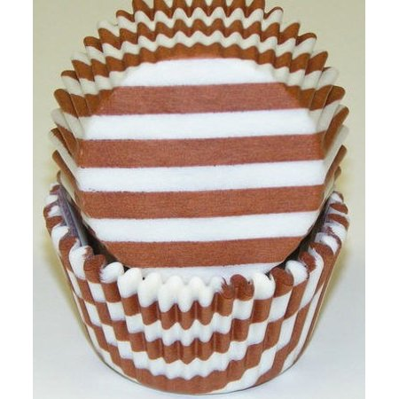 Brown and White Stripe Cupcake Liners - Baking Cups -50pack](Striped Cupcake Liners)