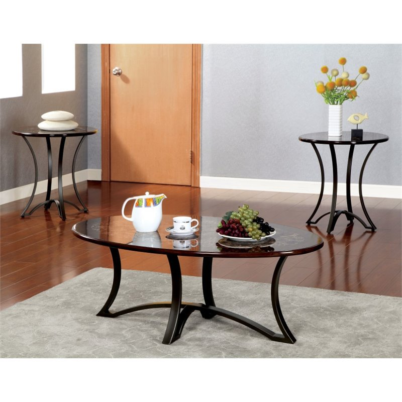 Furniture of America Millette 3 Piece Coffee Table Set in Black