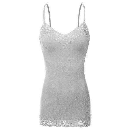 3720c413607 Doublju - Doublju Adjustable Spaghetti Strap Lace Long Cami Tank Top For  Women With Plus Size HEATHERGRAY 2XL - Walmart.com