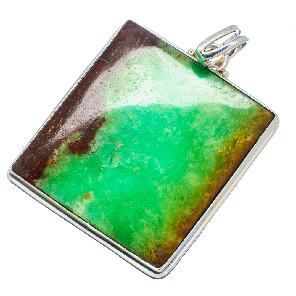 "Ana Silver Co Huge Boulder Chrysoprase 925 Sterling Silver Pendant 2 1 4"" PD593036 by Ana Silver Co."