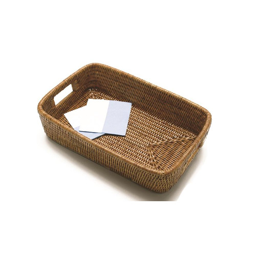 artifacts trading Rattan Rectangular Basket with Rounded Corners and Cutout Handles