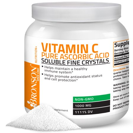 Vitamin C Powder Pure Ascorbic Acid Soluble Fine Non GMO Crystals – Healthy Immune System – Powerful Antioxidant,