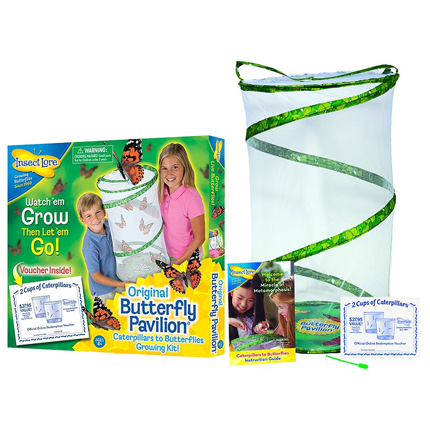 Butterfly Pavilion Large Habitat Hatching Kit With Voucher For 10 Caterpillars, Caterpillars become... by