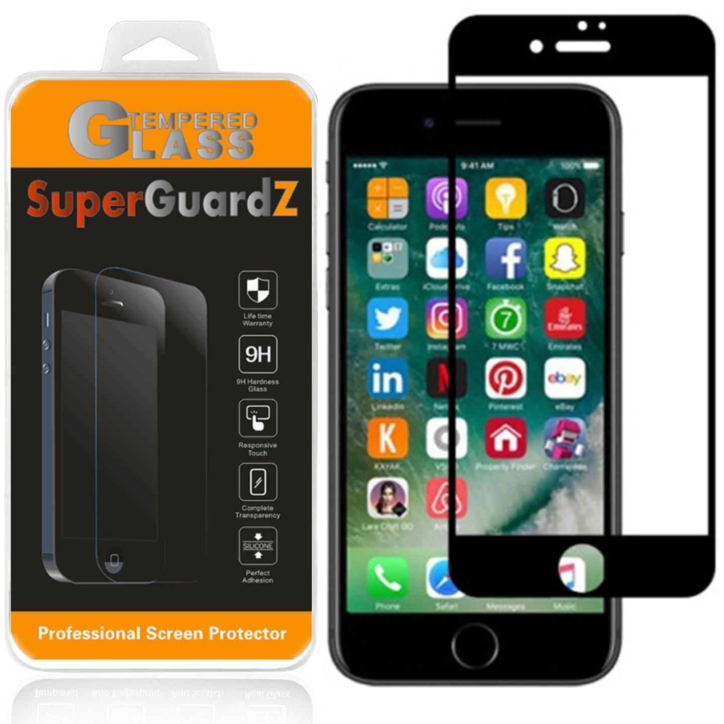 [2-Pack] For iPhone 6S Plus / 6 Plus - SuperGuardZ Tempered Glass Screen Protector, Full Screen Coverage, 9H, Anti-Scratch, Anti-Bubble, Anti-Fingerprint [Black]