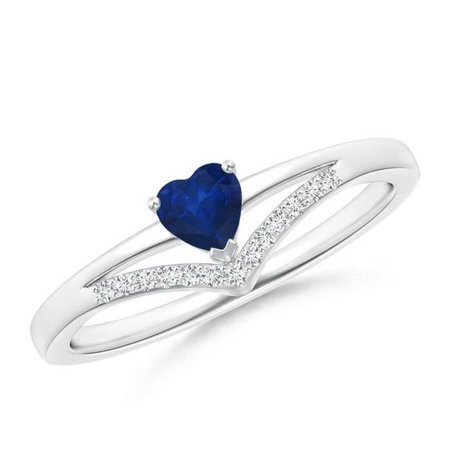 Harry Chad Enterprises 41266 1.5 Carat Heart & Round Cut Ceylon Sapphire & Diamond Ring - 14K White Gold