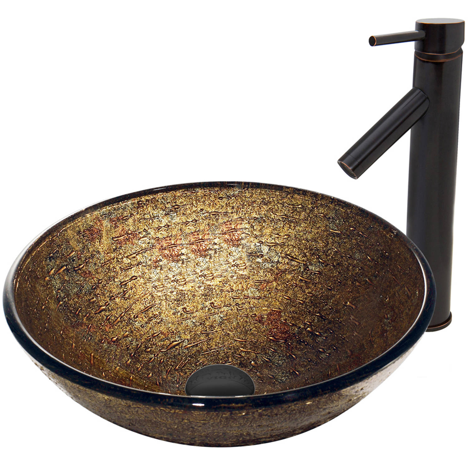 VIGO Textured Copper Glass Vessel Sink and Dior Faucet Set, Antique Rubbed Bronze Finish