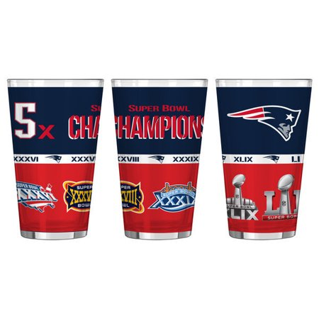 New England Patriots 16Oz  5 Time Super Bowl Champions Sublimated Pint Glass