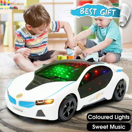 LED Light Car Toys Electronics Flashing Lights Music Sound Car Play Vehicles Toys For Boys, Kids Gift - 3 to 12 Years (Size:7.87x3.54x1.97