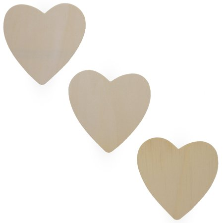 3 Inch Rubber Heart - BestPysanky Set of 3 Unfinished Wood Hearts Cutout 4.6 Inches