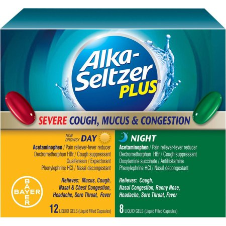 Alka-Seltzer Plus Day/Night Severe Cough, Mucus and Congesition Liquid  Gels, 20 CT (Pack of 3)