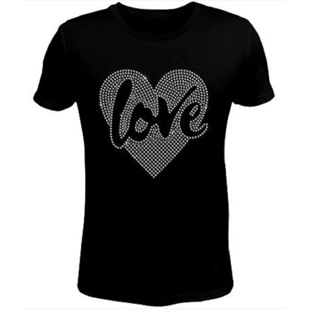 Bling Valentines Day Womens Love in My Heart T Shirt CHI-419-SC - S (Womens Halloween Bling Shirts)