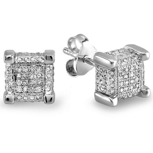 Sterling Silver 1/3ct TDW Diamond Square Dice Earrings (I-J, I2-I3)