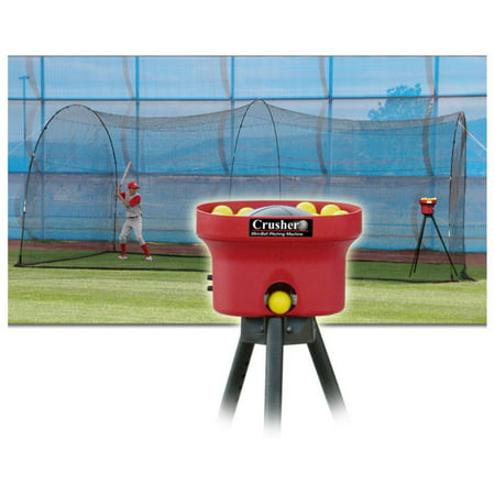 Heater Sports 20ft. Crusher Pitching Machine & PowerAlley Batting Cage Package ()