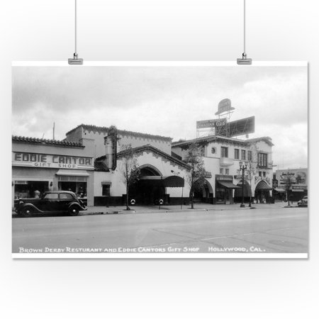 Hollywood, California - Brown Derby Restaurant Photograph (16x24 Giclee Gallery Print, Wall Decor Travel - Hollywood Deco