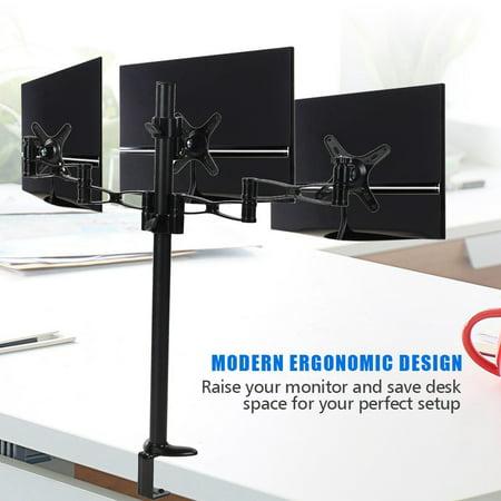 WALFRONT Triple Monitors Desk Mount Stand Mount 360 Rotation Fits 3 Screens 10  to 27  Aluminium Alloy,Monitor Stand, 3 Monitor Stand 360 ()