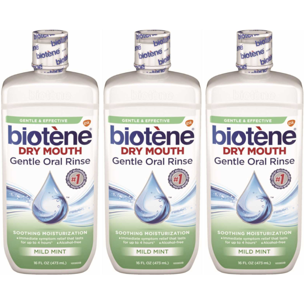 3 Pack Biotene Dry Mouth Gentle Oral Rinse, Mild Mint, 16 Ounces Each