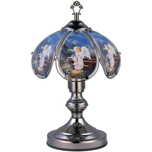 "OK Lighting 14.25"" Black Chrome Touch Lamp With Angel Theme"
