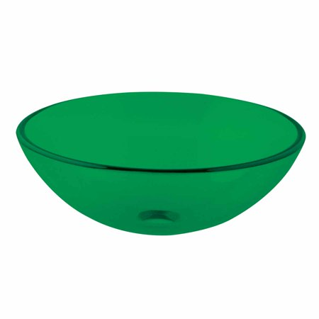 Single Layer Emerald Tempered Glass Bowl Vessel Sink with Drain Crystal Tempered Glass Vessel