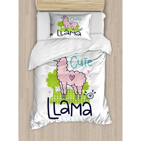 Llama Twin Size Duvet Cover Set, Cute Llama Pattern with Abstract Color Palette Cartoon Character Design Pink Animal, Decorative 2 Piece Bedding Set with 1 Pillow Sham, Multicolor, by Ambesonne](Cute Tween)
