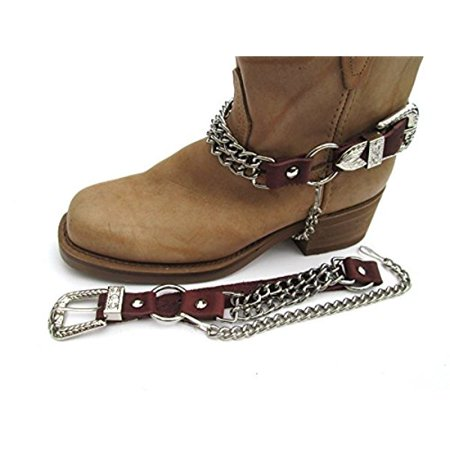 A To Cowhide Boots (Biker Boots Boot Chains Brown Topgrain Cowhide Leather with 2 Steel Chains)