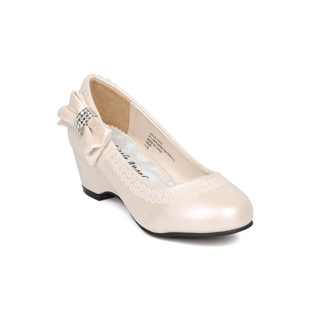Little Angel - Girls Sequinned Kiddie Wedge Pump (Toddler Girl   Little Girl    Big Girl) - Bow Tie Kitten Heel - Girls Dress Shoes - HK52 By Little  Angel ... 2c96b69a78f1