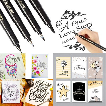4 Sizes Ink Calligraphy Pen Hand Lettering Pens Brush Markers Drawing Art