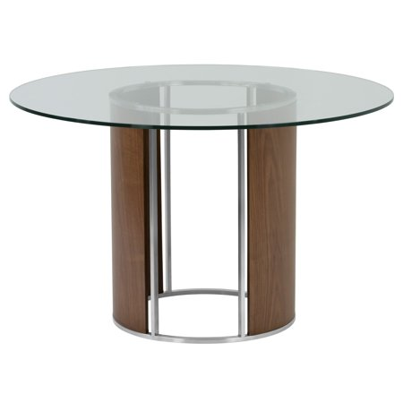 Armen Living Delano Round Dining Table in Brushed Stainless Steel with Clear Tempered Glass Top and Walnut Column ()