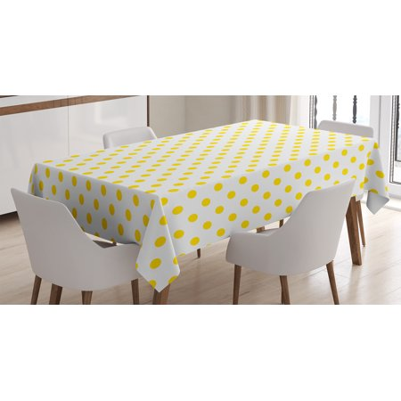 Yellow Decor Tablecloth, Picnic Like Cute 50s 60s 70s Themed Yellow Spotted White Pattern Print, Rectangular Table Cover for Dining Room Kitchen, 52 X 70 Inches, Yellow and White, by Ambesonne - 50s Table