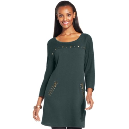 Style & Co Petite Studded Mixed-textured Teal Quarry Tunic Size PS