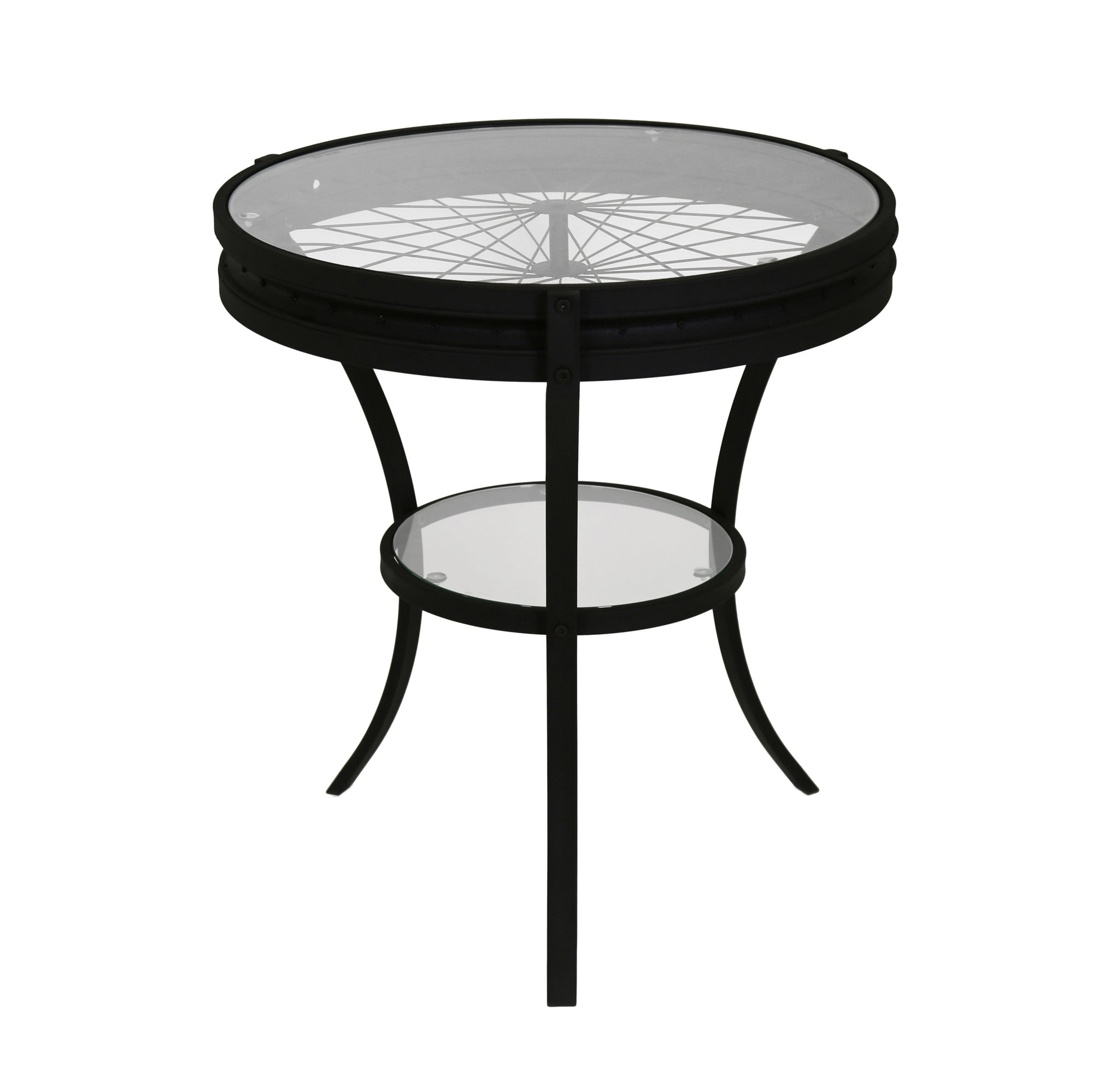 "20"" Accent Table with Tempered Glass, Hammered Black"