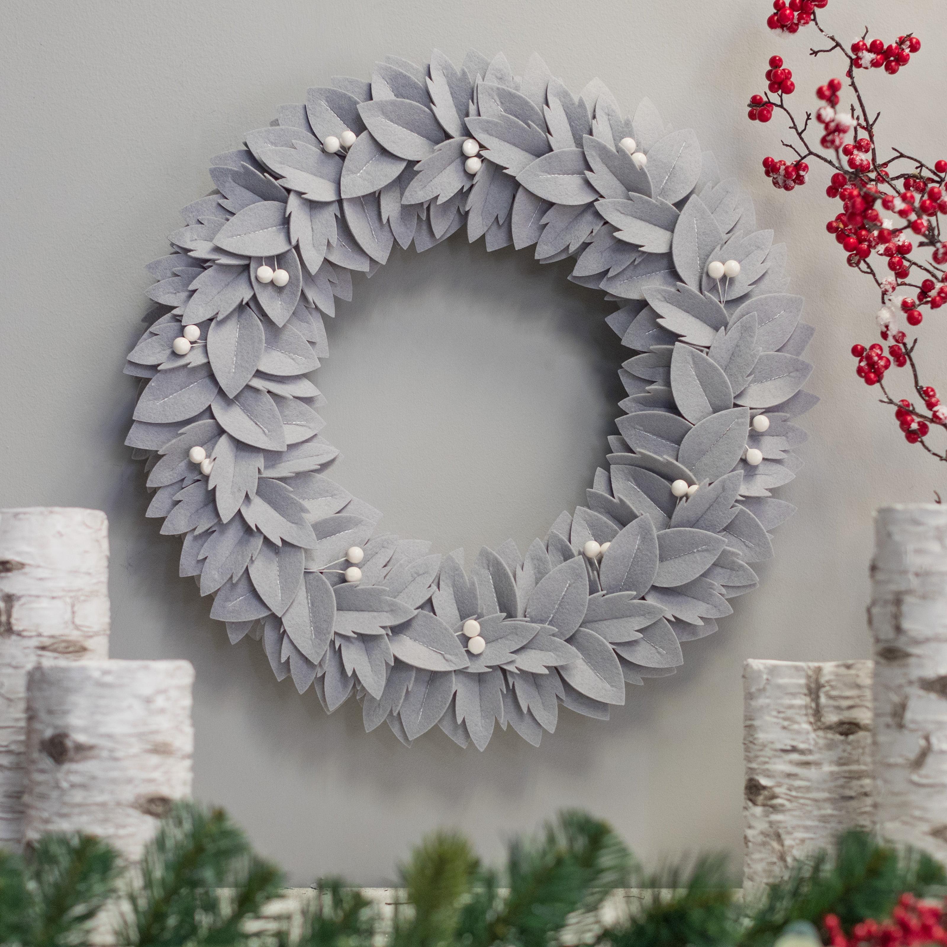 "Belham Living Neutral Felt Christmas Wreath, 22"" diameter"