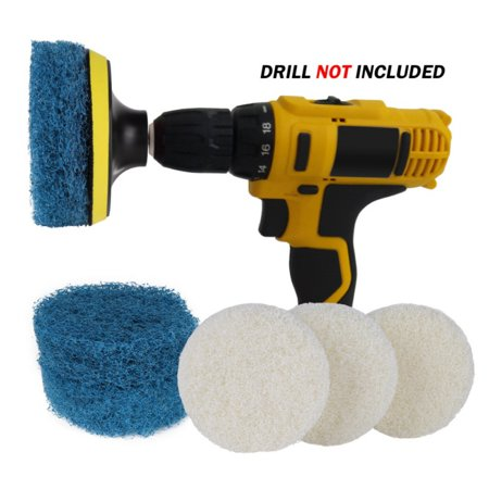 Power Cleaning Drill Brush Set Cleaning Scouring Pads Scrubbing Drill Attachment for Leather Polish Car Waxing Bathroom Kitchen Floor Tile Sink