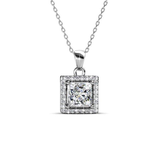 Cate & Chloe Ekatrina Pure Pendant Necklace, Women's 18k White Gold Plated...
