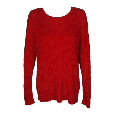 Lauren Ralph Lauren Red Cable-Knit Crew Neck Sweater XL