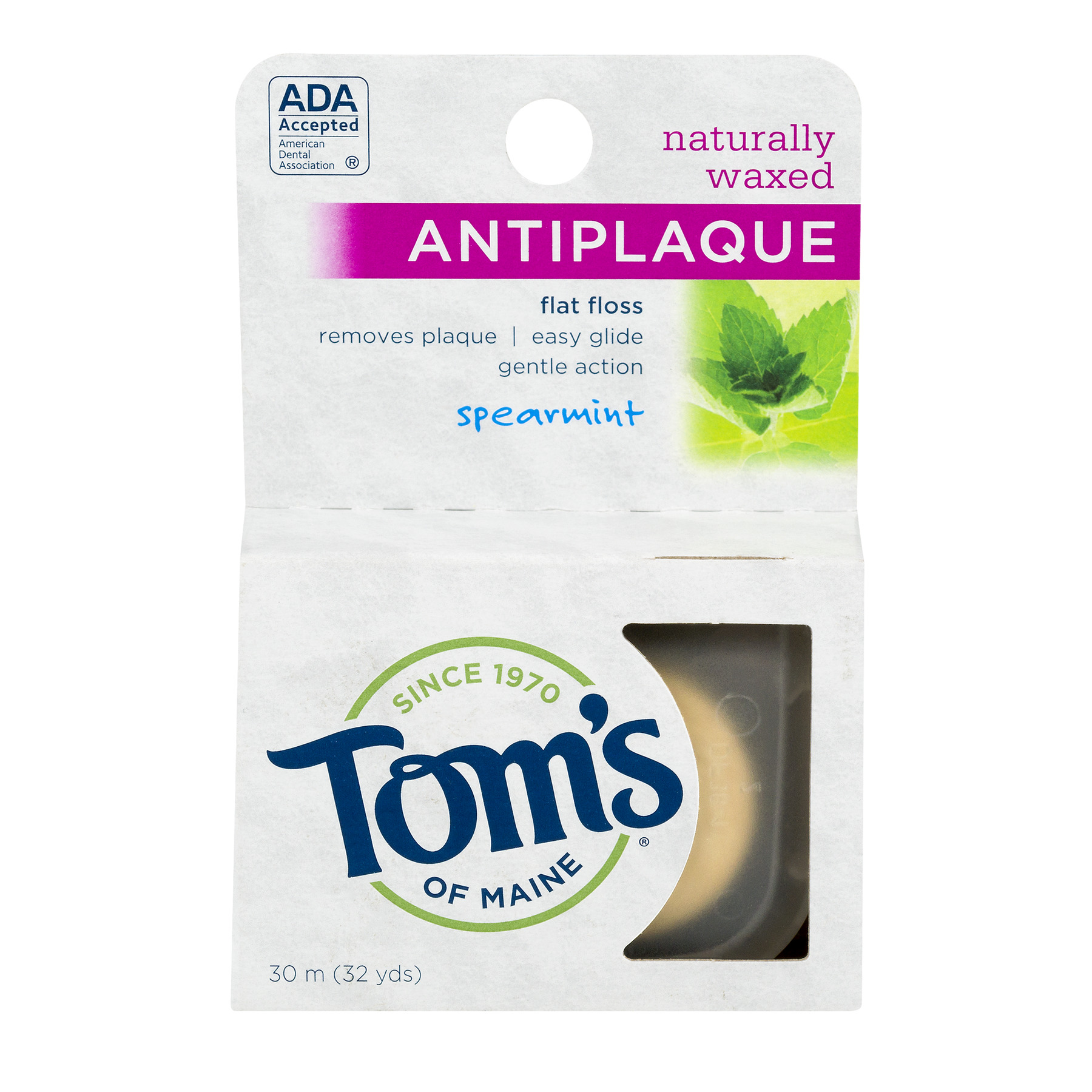 Tom's Of Maine Antiplaque Flat Floss Spearmint, 32.0 YARDS