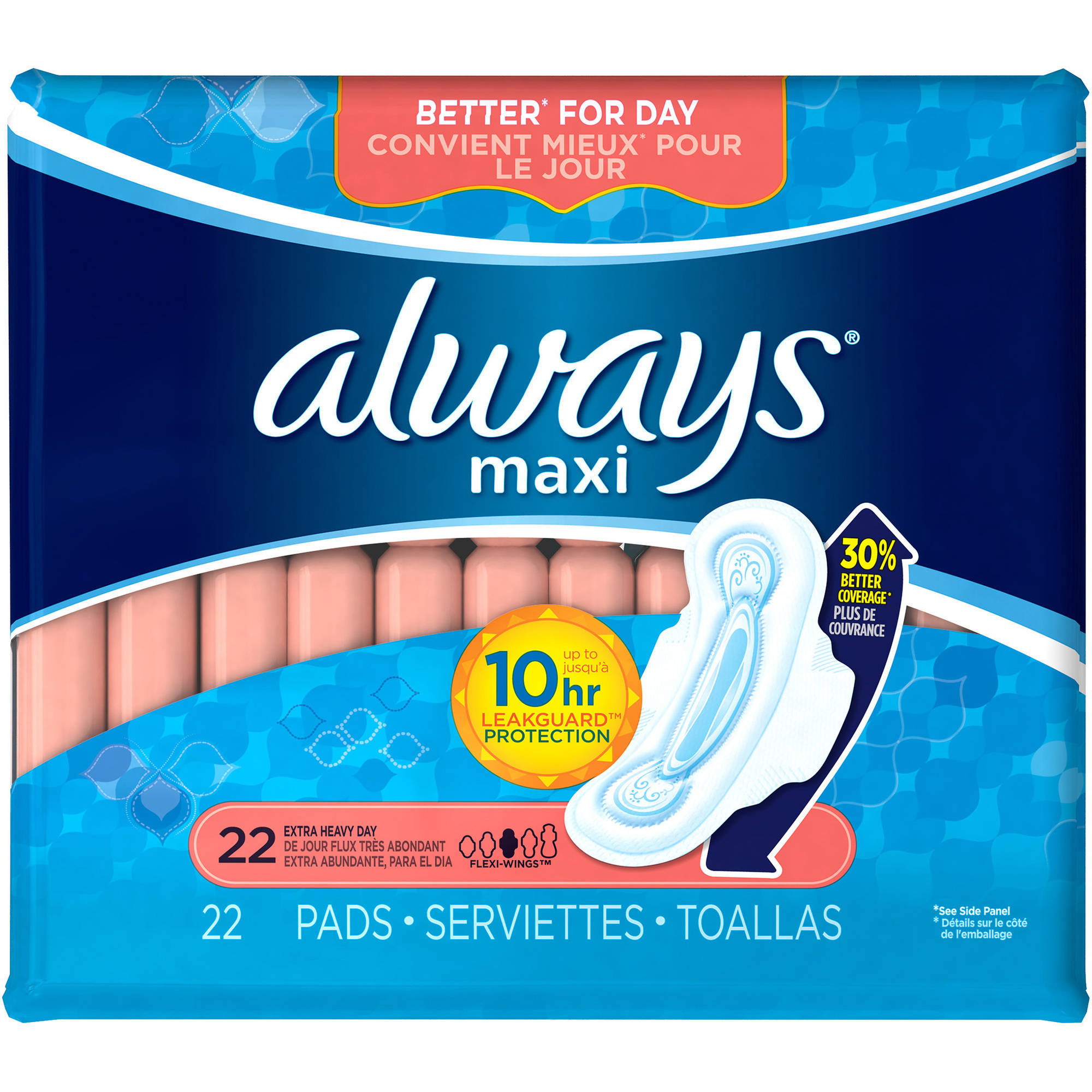 Always Maxi Extra Heavy Day Pads with Wings, 22 count