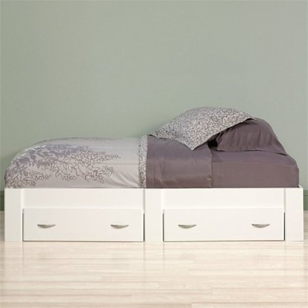 Pemberly Row Twin Platform Bed in Soft White