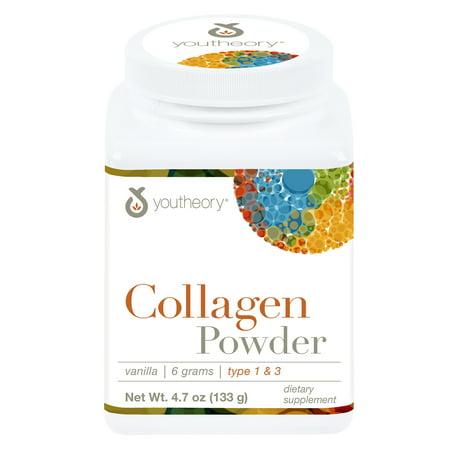 Youtheory Collagen Powder with Biotin and Vitamin C, Natural Vanilla Flavor, 4.7 oz.