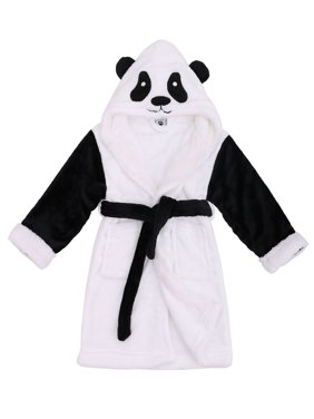 Kids RobeZoo Crew Fuzzy Sherpa Lined Hooded Animal Bathrobe,Panda,M(4-6 Years)
