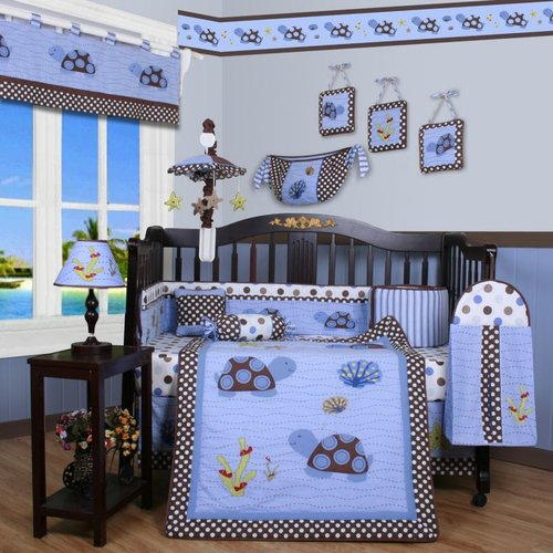 Geenny CRIB-CF-2052 Sea Turtle 13-Pc Baby Bedding Set