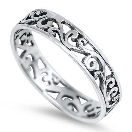 Eternity Celtic Design Fashion Ring ( Sizes 2 3 4 5 6 7 8 9 10 11 12 13 ) New .925 Sterling Silver Band Rings by Sac Silver (Size 8)
