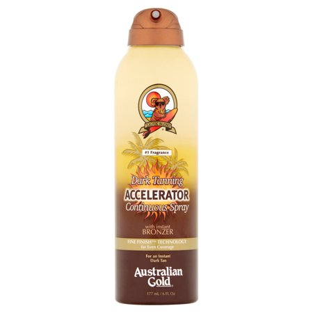 Deep Tanning Dry Oil - Tanning Oil Accelerator Continuous Spray with Instant Bronzer Australian Gold Dark, 6 fl oz