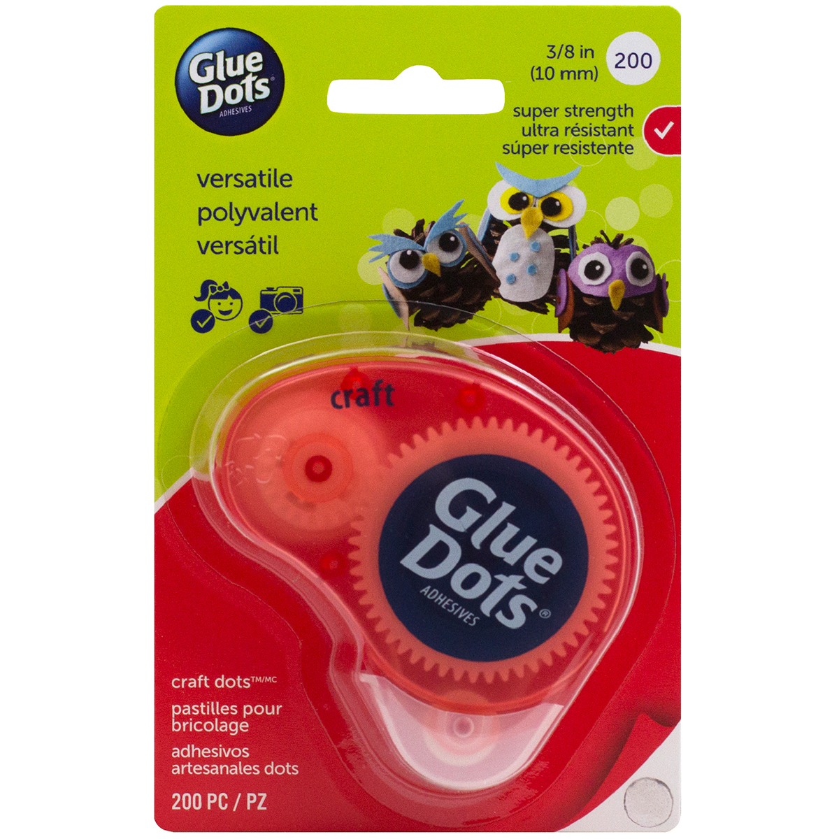 "Glue Dots Clear Dot Disposable Dispenser-Craft .375"" 200/Pkg"