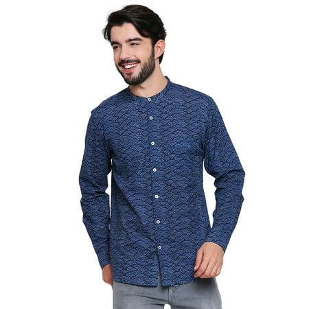 Mandarin Collar Shirt - Shatranj Men's Pure Cotton Mandarin Collar Textured Printed Button Down Shirt
