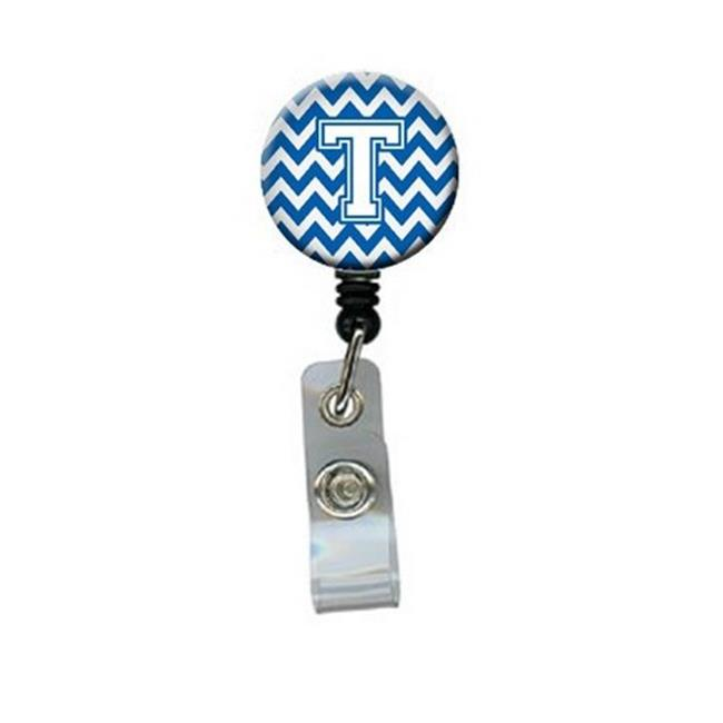 Carolines Treasures CJ1045-TBR Letter T Chevron Blue & White Retractable Badge Reel, 5 x 1 x 2 in. - image 1 de 1