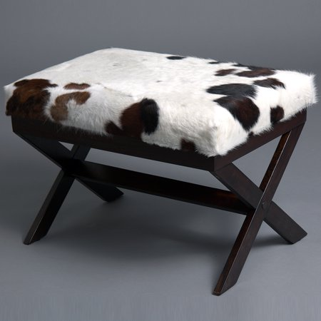 WESTERN GENUINE LEATHER COWHIDE HAIR ON WOODEN LEG BENCH TABLE FURNITURE